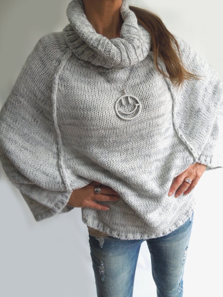 13128a896e946a PONCHO PULLI 36 38 40 Puder Rosa BLOGGER Rollkragen Pullover MUSTHAVE